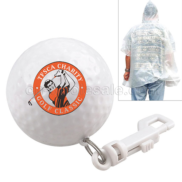 Promotional Disposable Rain Poncho Ball Raincoat In Golf Ball Shape Case