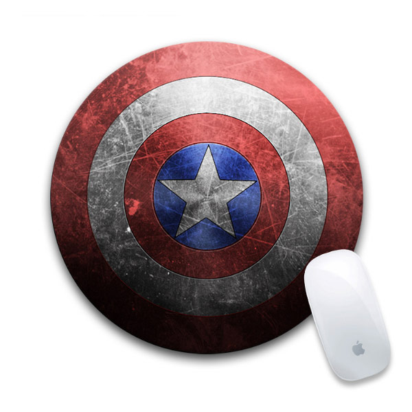Captain America's shield Sublimation Blank Printable Round Mouse Pad
