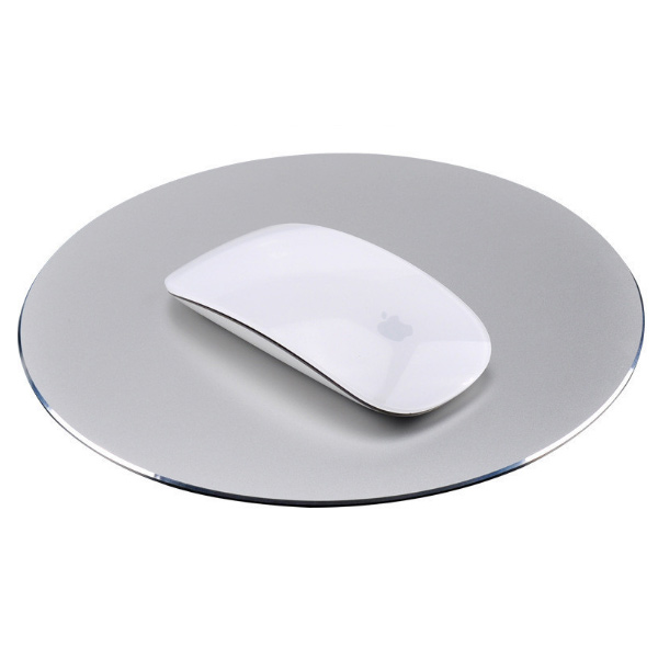 2018 hot selling 22*22cm round shape aluminum alloy metal mouse pad, rubber base aluminum mouse pad