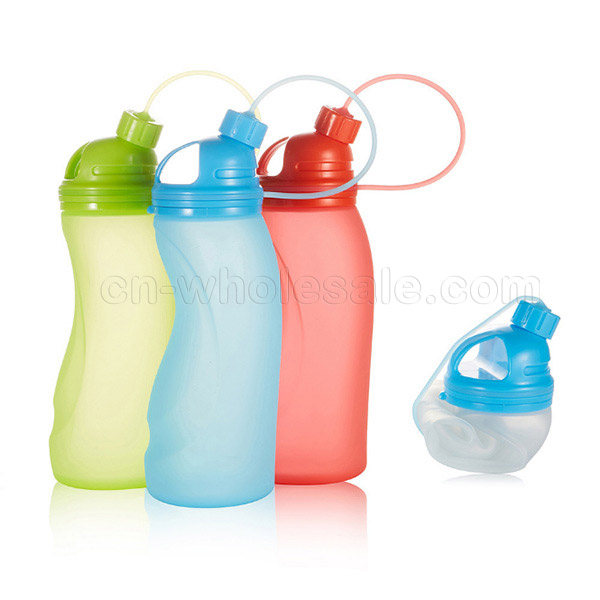 2018 China Wholesale 500ML BPA free silicone sports water bottle,silicone foldable water bottle