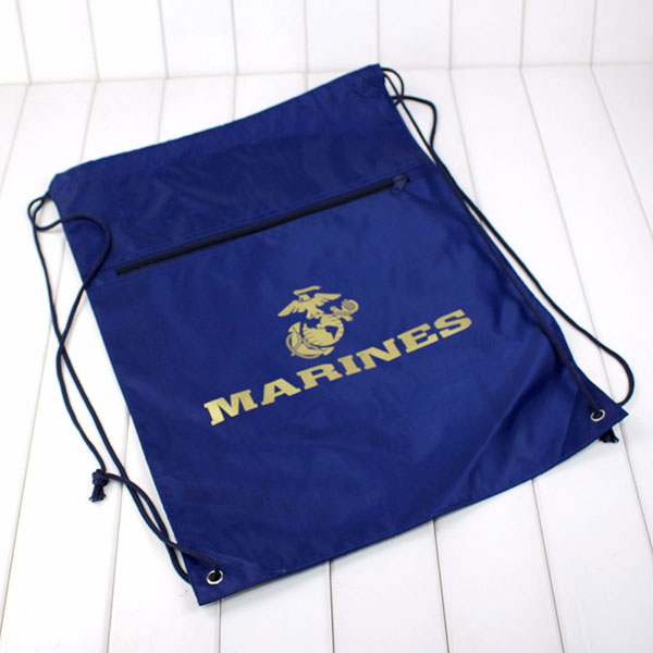 Wholesale custom printed polyester drawstring bag with zipper