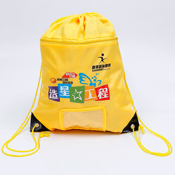 Custom waterproof 210D polyester drawstring bag with pockets,kids drawstring bag