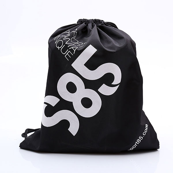 Custom logo black polyester sport gym bag,branded drawstring bag