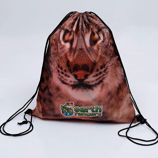 Custom full color sublimation printed 210d polyester drawstring bag