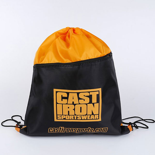 Custom polyester basketball usage drawstring bag with zipper