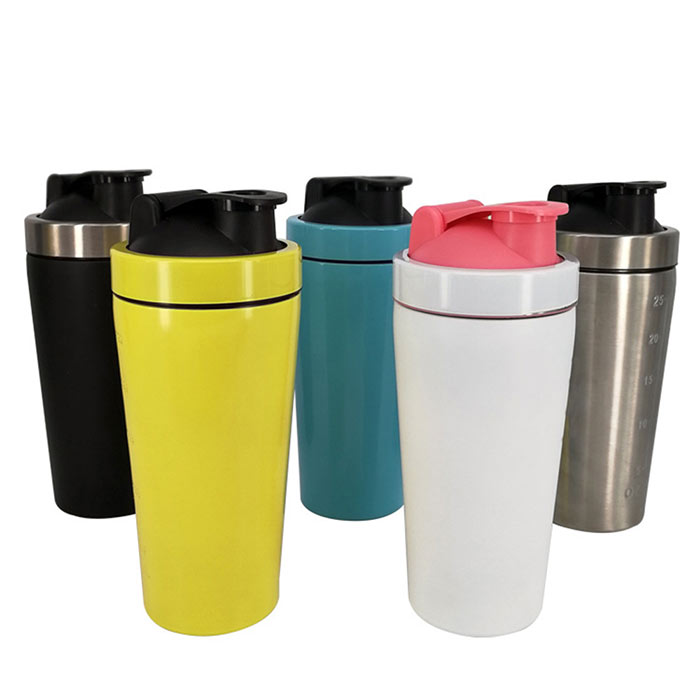 Wholesale 24 oz metal shaker cup custom fitness shaker bottle